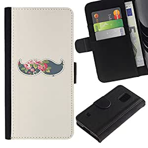 LASTONE PHONE CASE / Lujo Billetera de Cuero Caso del tirón Titular de la tarjeta Flip Carcasa Funda para Samsung Galaxy S5 V SM-G900 / moustache grey hipster beige minimalist