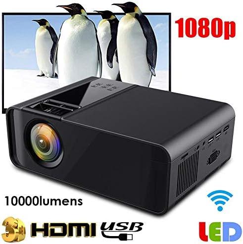 ミニプロジェクターブラックポータブル1080P LEDスマートプロジェクターLEDスマートプロジェクターホームシアター720P 110V-240Vホームエンターテイメントサポート用デュアルUSB、HDMI、VGAなど(我ら)