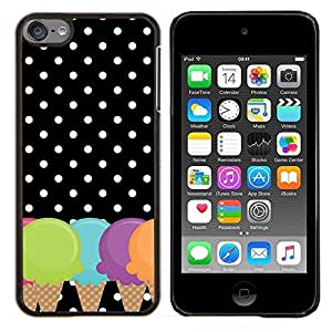 Cono Lunares Negro Blanco- Metal de aluminio y de plástico duro Caja del teléfono - Negro - iPod Touch 6