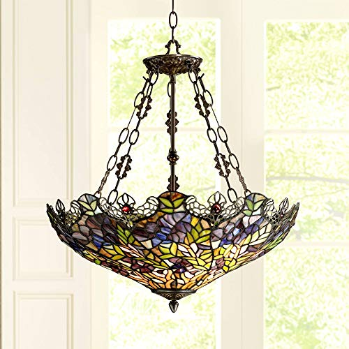Floral Garden 3-Light Tiffany Glass Bowl Pendant