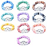 Soleebee Round Resin Beads Stretch Bracelet Snap Button Bracelet Fit 18mm Charms (Pack of 10)