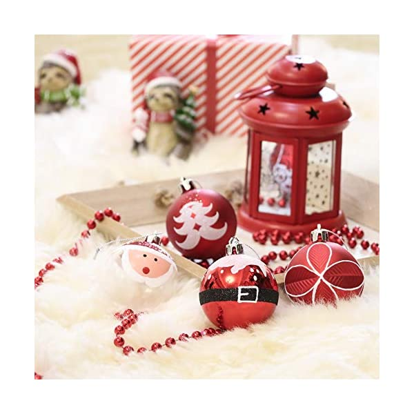 Valery Madelyn Palle di Natale 9 Pezzi 6cm Addobbi Natalizi, Traditional Red And White Shatterproof Christmas Ball Ornaments Decoration for Christmas Tree Decor 4 spesavip