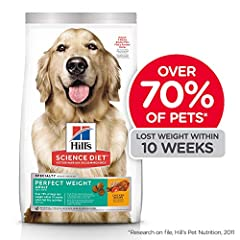 Putting your grown dog on a calorie restricted diet can be difficult for you and your canine companion. That's why Hill's Science Diet Perfect Weight Adult Dog Food provides delicious, breakthrough weight management nutrition that your full g...
