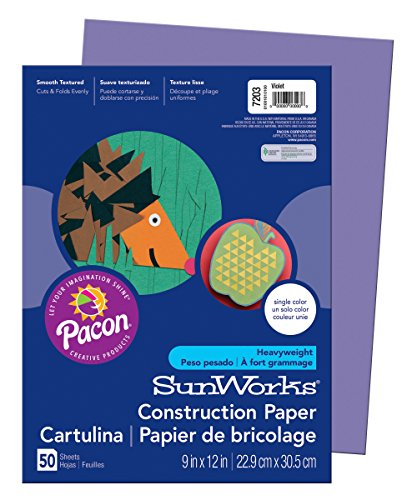 Pacon SunWorks Construction Paper, 9-Inches by 12-Inches, 50-Count, Violet (Purple Construction Paper)