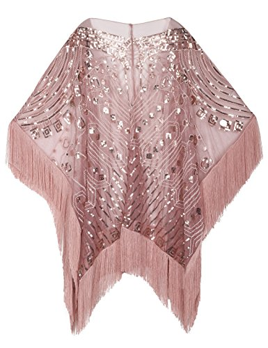 Evening Shawl Beaded 1920s Cape Poncho Fringed Cover Up Pink ()