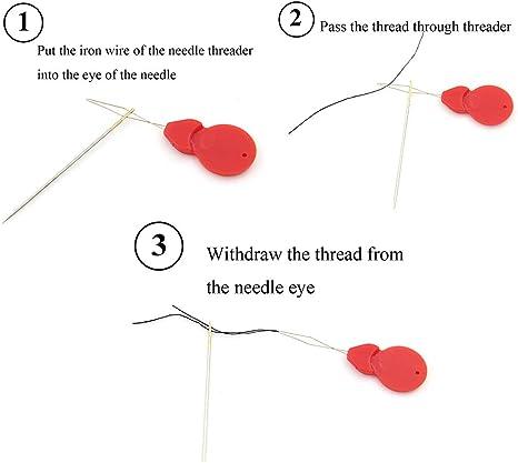 Mackur Silver Tone Wire Loop DIY Needle Threader Stitch Insertion Hand Machine Sewing Tool 100 PCS