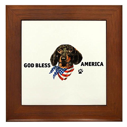 (Framed Tile God Bless Wiener Dog Dachshund)