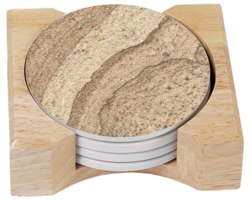 CounterArt Sandstone Design Absorbent Coasters in Wooden Holder, Set of 4