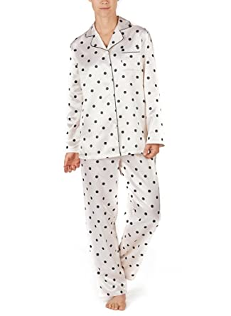 AmeriMark Brushed Back Satin PJs at Amazon Womens Clothing store