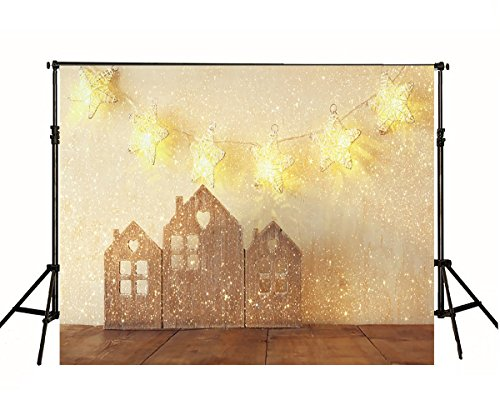 Snow Christmas Studio Background 6.5x5 Photo Backdrop Twinkle Gold Stars with Wooden House for Baby Brown Wood Floor Backgrounds Newborn by VV Backdrop