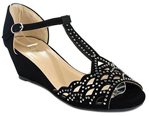 Out Cut Toe Shoes Peep (JJF Shoes Blaze04 Black Rhinestone Peep Toe Cut Out Ankle Strap Low Wedge Dress Sandal-8)