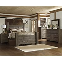 Juararoy Casual Dark Brown Color Replicated rough-sawn oak Bed Room Set, Queen Poster Storage Bed, Dresser, Mirror, Nightstand