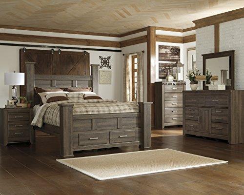Juararoy Casual Dark Brown Color Replicated rough-sawn oak Bed Room Set, Queen Poster Storage Bed, Dresser, Mirror, (Dark Oak Mirror)