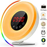Wake up Light, Sunrise Alarm Clock with FM Radio Snooze Function 7 Colors/10 Brightness LED Bedside Lamp Night Light 6 Nature Sounds Sunset for Heavy Sleeper Children Girls(2017 Newest Version)