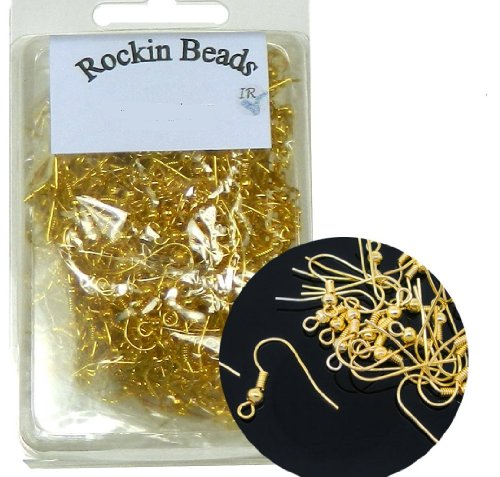 Rockin Beads Brand, 400 Basic Earring Gold Plated Fishhook with 18mm Ball and Coil with Open Loop 21 Gauge. 200 Pairs. (Gold Ring Base)