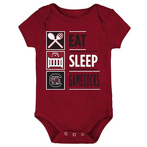 NCAA South Carolina Fighting Gamecocks Newborn & Infant All I Do Short Sleeve Bodysuit, Garnet, 18 (Ncaa Baby Clothing)