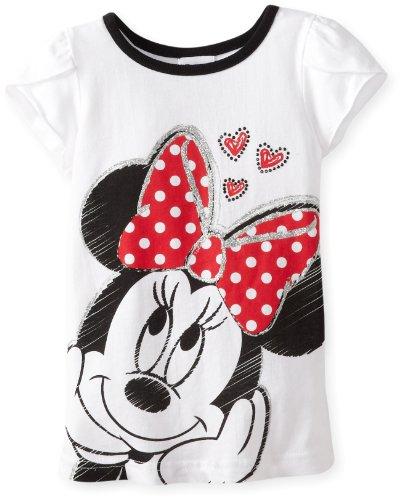 Disney Girls 2-6X Minnie Short Sleeve Tee with Rhinestuds