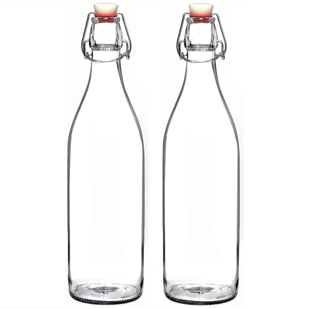 Set of 2-33.75 Oz Giara Glass Bottle with Stopper, Swing Top Bottles for Oil, Vinegar, Beverages, Beer, Water, Kombucha, Kefir, Soda, By California Home Goods