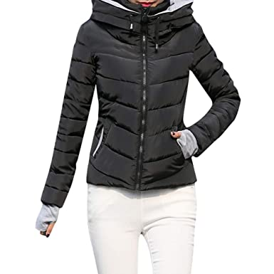 00b8f588ab9 FNKDOR Womens Short Slim Hooded Jackets Coats Thick Outerwear Quilted  Padded Puffer Bubble Parka Jacket (