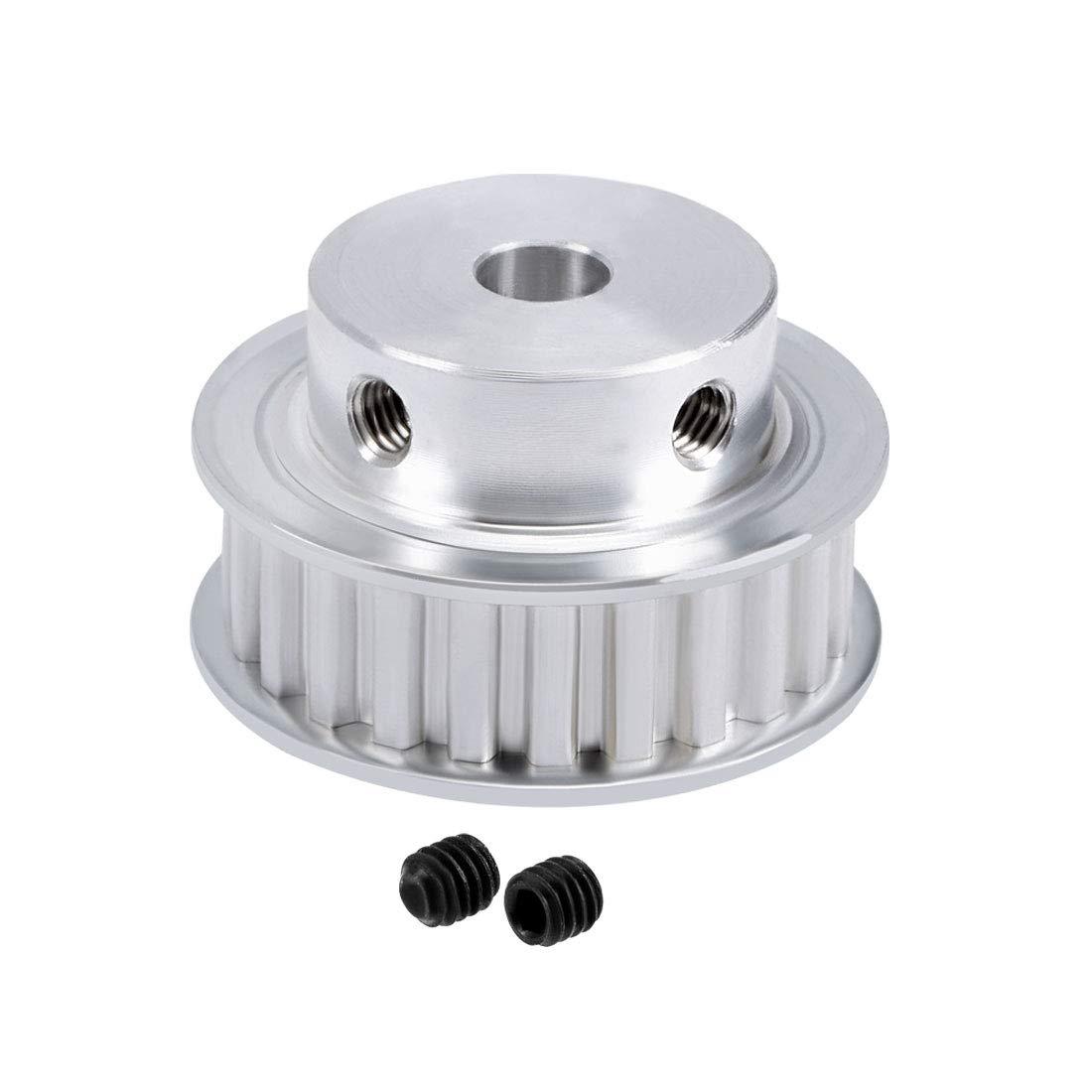 sourcing map 2pcs Aluminum XL 20 Teeth 10mm Bore Timing Belt Pulley Flange Synchronous Wheel for 11mm Belt 3D Printer CNC