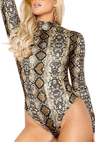 - Symptor Ladies Snakeskin Bodysuit Long Sleeve Turtleneck Clubwear Jumpsuits L