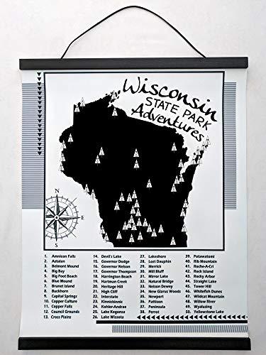 Wisconsin State Parks Checklist Map (Vinyl Black Wood Frame, - Wisconsin Frame