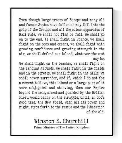Winston Churchill Quote | Fight Them On The Beaches | Modern Minimalist Art Print (8x10) (We Shall Fight Them On The Beaches)
