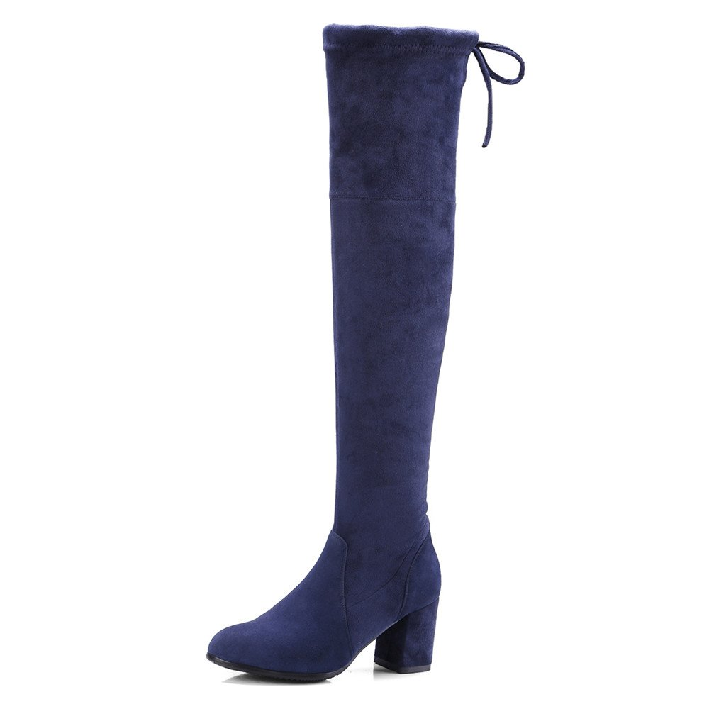 Nine Seven Suede Stretch Leather Women's Riund Toe Chunky Heel Sexy Handmade Over The Knee Boot (6, Blue)