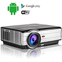 3500 Lumen Wireless Android LCD Projector Home Cinema 1280x800dpi, Support Full HD 1080P Screen Mirroring with iPad Smartphone Tablet HDMI-in USB for Entertainment Outdoor Movie Gathering