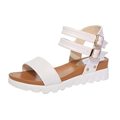 66350ff783a31f Limsea Women Ladies Shoes Sandals Aged Flat Fashion Buckle Open Toe Summer  Comfortable Shallow Low Height Flip Flops at Amazon Women s Clothing store