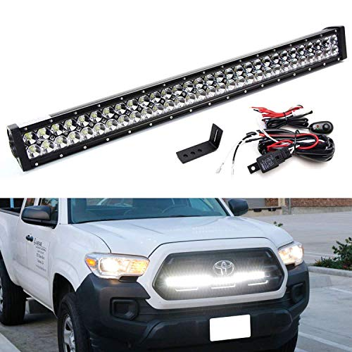 iJDMTOY Behind Grille 30-Inch LED Light Bar Kit For 2016-up Toyota Tacoma, Includes (1) 180W High Power LED Lightbar, Under Hood Mounting Brackets & On/Off Switch Wiring ()