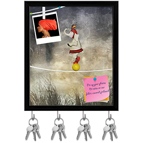 Artzfolio Female Elephant Dressed Circus Balancing On A Rope Key Holder Hooks | Notice Pin Board | Black Frame 12 X 14.1Inch ()