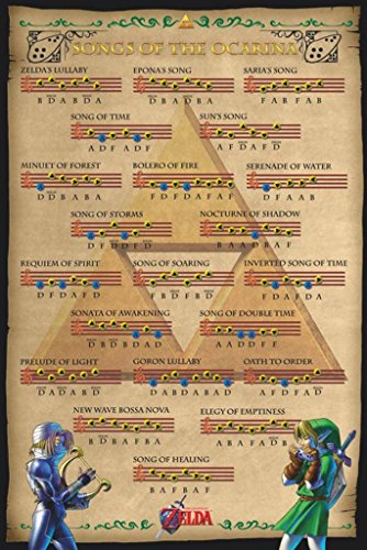 Pyramid America Zelda Ocarina of Time Songs Video Game Gaming Poster 24x36 inch (Music Posters Games)