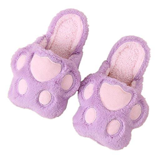Minetom Herren Damen Winter Baumwolle Pantoffeln Soft Plüsch Wärme Weiche Hausschuhe Kuschelige Home Rutschfeste Slippers Nette Bärnhandschuhe A- Purple