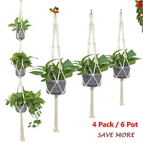 Hanging Planter Pot Basket Indoor Set of 4, Different Sizes Macrame Plant Hanger Outdoor, Large Hanging Wall Plant Hanger Holder, Natural Cotton Rope Handmade Durable Holds to 6 Pots, Boho Home Decor