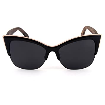 CoFash Semi sin montura de lentes polarizadas plana espejado Cateye señoras gafas de sol Moda de