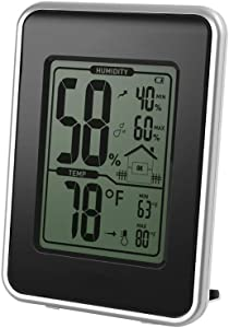 FLYDEER Digital Hygrometer Thermometer Indoor Room Thermometer Humidity Monitor, Thermometer and Humidity Gauge with Large LCD Display, MIN/MAX Records (Black)