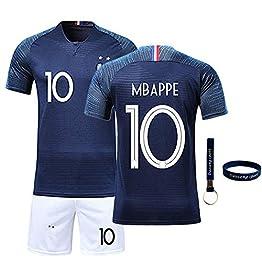 Daoseng Maillots de Sport Garçon Football T-Shirt et Short 2019-2020 France 2 Étoiles Vêtements de Football Hommes Populaire pour Enfant Garçon