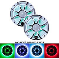Wet Sounds REVO 6-XSW-SS White XS / Stainless Grill 6.5 Inch Marine LED Coaxial Speakers with RGB LED Speaker Rings