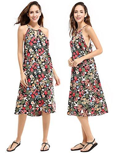 MODETREND Mujer Vestido Playa Talla Grande de Cabestrillo Escotado por Detrás con Estampado Flores Casual Vestido de Noche Foto Color