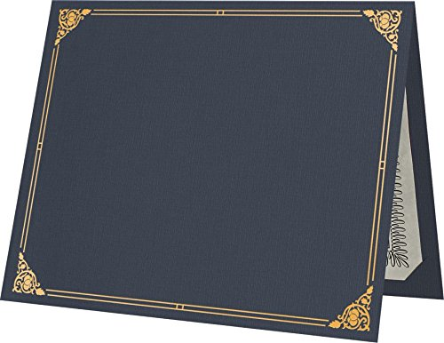 9 1/2 x 12 Certificate Holders - Dark Blue Linen - Gold Foil Floral Border (250 Qty.) | Perfect for Award Recognition, Certificates, Documents and More! | CHEL-185-DDBLU100-FLORALGF-250
