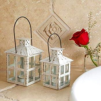 Kate Aspen 14110WT Vintage White Distressed Small Candle Lantern, One Size