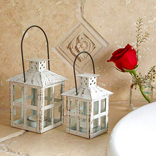 Kate Aspen 14110WT Vintage White Distressed Small Candle Lantern, One Size,