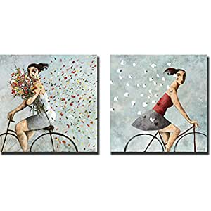 Petals and Follow Me by Didier Lourenco 2-pc Premium Gallery-Wrapped Canvas Giclee Art Set (30 in. x 30 in. each piece, Ready-to-Hang)