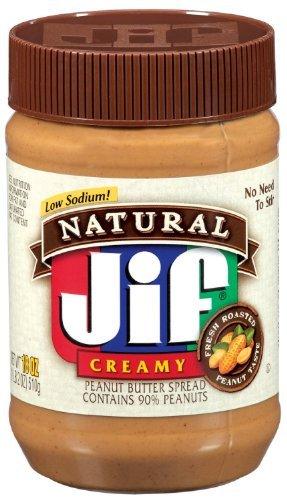 Sodium Creamy (Jif, Natural Low Sodium Creamy Peanut Butter Spread, 16oz Jar (Pack of 6))