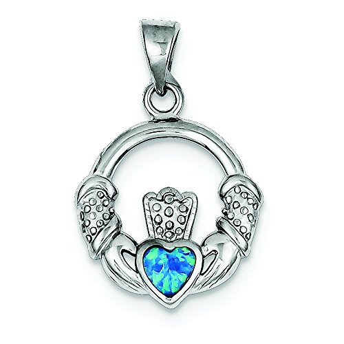 - .925 Sterling Silver Blue Inlay Created Opal Irish Claddagh Charm Pendant