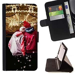 For Motorola Moto E ( 1st Generation ) Case , Diseño Circues Hipster Pareja- la tarjeta de Crédito Slots PU Funda de cuero Monedero caso cubierta de piel