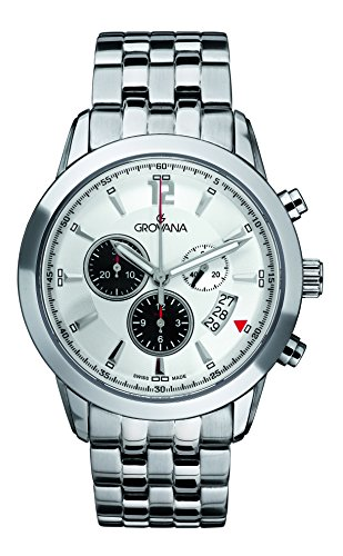 Grovana Men's 1567-9132 Traditional Analog Display Swiss Quartz Silver Watch