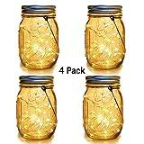 WERTIOO 4 Pack SolarMason JarsLights,30 LEDsHangingSolar LanternsGarden DecorOutdoor LightsWarm White Table Decor Fairy Lights for Patio Wedding Christmas Party