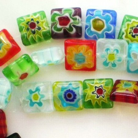 - Beading Station 48-Piece Square Millefiori Flower Lampwork Glass Beads, 8 by 8mm